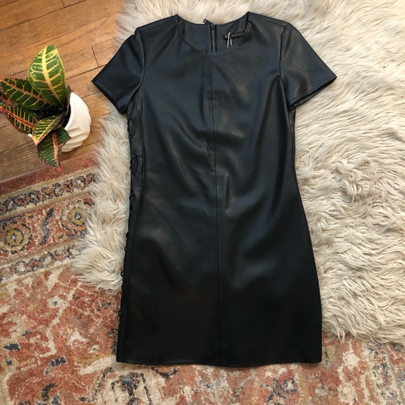 Zara Dresses & Skirts - Zara Black Faux Leather Mini Dress